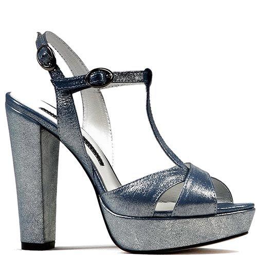Босоножки Modus Vivendi на каблуке и скрытой платформе серо-голубого цвета, фото