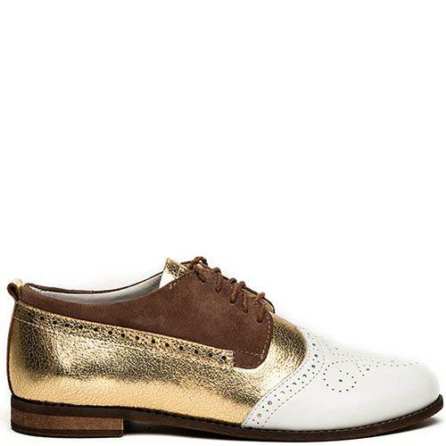 Женские оксфорды Modus Vivendi коричнево-золотые с белым перфорированным носочком, фото