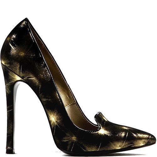 Туфли Modus Vivendi на высоком каблуке черного цвета с золотистым рисунком, фото