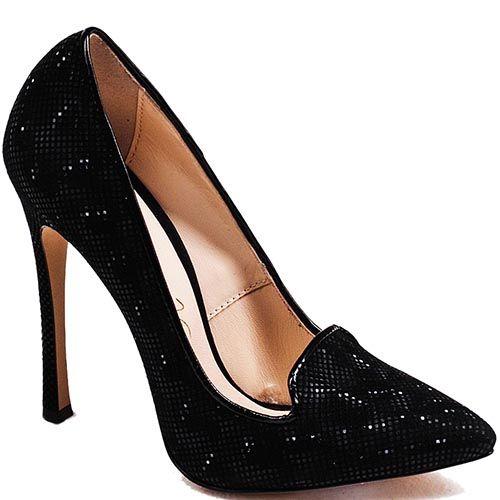 Туфли Modus Vivendi на высоком каблуке черного цвета из кожи с лазерной обработкой, фото