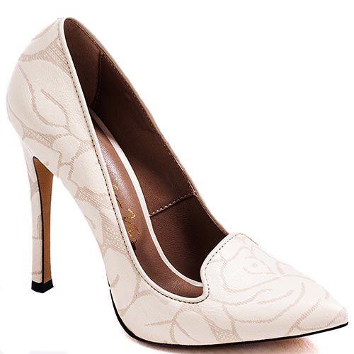 Туфли Modus Vivendi на высоком каблуке молочного цвета с набивным растительным рисунком, фото