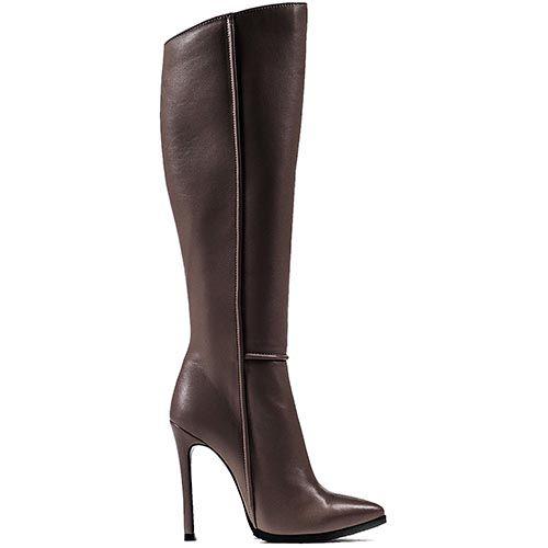 Высокие облегающие сапоги Modus Vivendi серо-бежевого цвета на шпильке с зауженным носком, фото