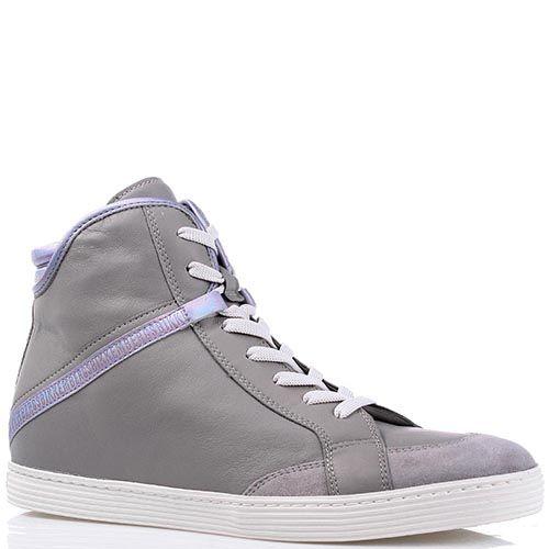 Высокие кеды Bikkembergs нежно-серого цвета с сиреневой лентой, фото