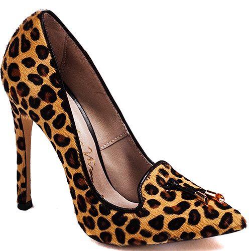 Женские туфли Modus Vivendi на шпильке из меха пони с леопардовым принтом, фото