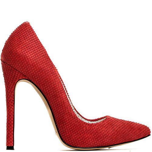Туфли Modus Vivendi красного цвета из кожи с тиснением под кожу змеи, фото