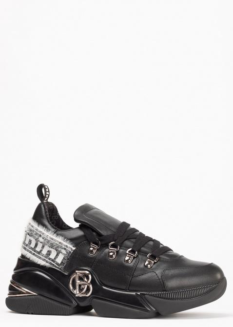 Черные кроссовки Baldinini на толстой подошве, фото