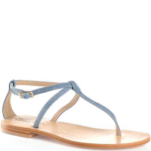Сандалии Officine Marini замшевые серо-голубые открытые, фото