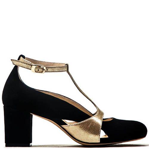Открытые туфли Modus Vivendi из замши с кожаными вставками золотистого цвета, фото
