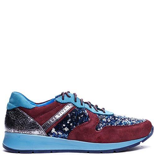 Кроссовки из кожи с замшевыми вставками бордового цвета Modus Vivendi украшенные пайетками, фото