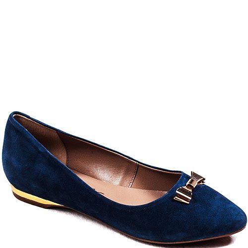 Балетки Modus Vivendi из нубука синего цвета с золотистой вставкой на каблуке и бантиком на зауженном носке, фото