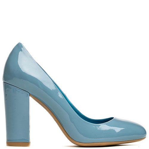 Туфли Modus Vivendi из лаковой кожи голубого цвета на высоком устойчивом каблуке, фото