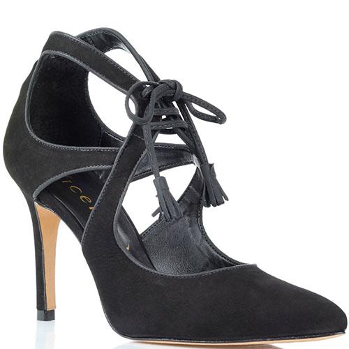 Черные туфли из нубука Vicenza на шнуровке, фото
