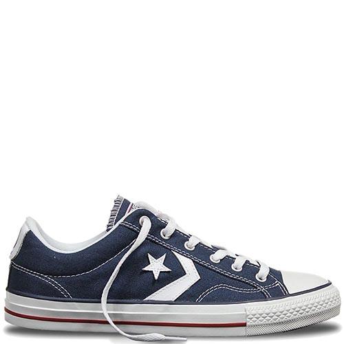 Синие низкие кеды Converse Star Player с белыми кожаными нашивками, фото 9f9edf2d88a