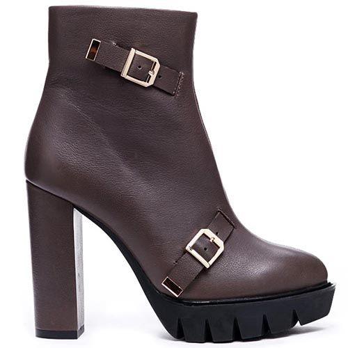 Кожаные ботинки коричневого цвета Modus Vivendi с декором в виде пряжек, фото