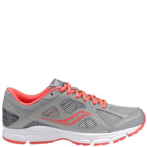 Легкие женские беговые кроссовки Saucony Grid Lexicon серый с коралловым, фото