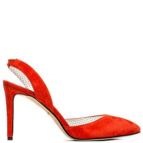 Босоножки из замши красного цвета с закрытым носочком Modus Vivendi, фото