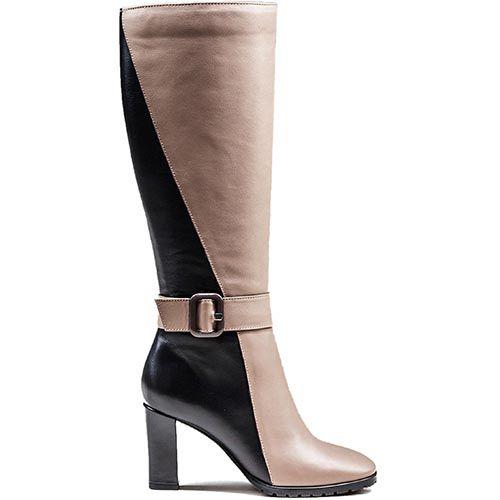 Зимние женские сапоги Modus Vivendi на среднем каблуке из комбинации молочного и коричневого цвета, фото