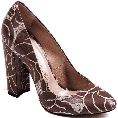 Туфли Modus Vivendi на высоком устойчивом каблуке из коричневой кожи с серым растительным рисунком, фото