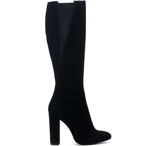 Замшевые сапоги черного цвета со вставками в виде резинок Modus Vivendi на толстом каблуке, фото
