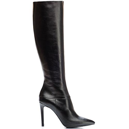 Кожаные сапоги Reda Milano черного цвета с узким носочком, фото