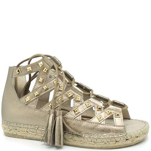 Кожаные высокие сандалии серебристого цвета Vidoretta на шнуровке с металлическими шипами, фото