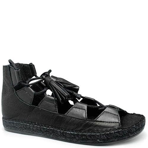 Кожаные сандалии черного цвета Vidoretta на джутовой подошве, фото