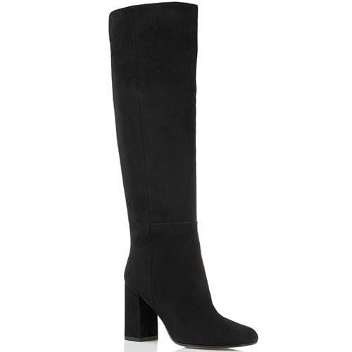 Замшевые сапоги черного цвета Bianca Di с закругленным носочком, фото