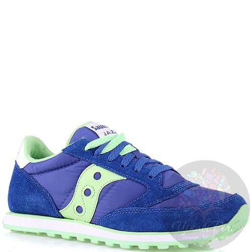 Женские кроссовки Saucony Jazz Low Pro синие с яркими мятными вставками, фото