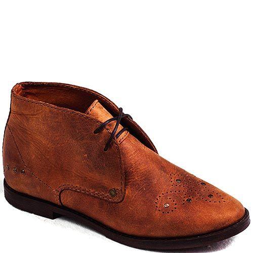 Демисезонные ботинки Modus Vivendi из кожи рыжего цвета на шнуровке, фото