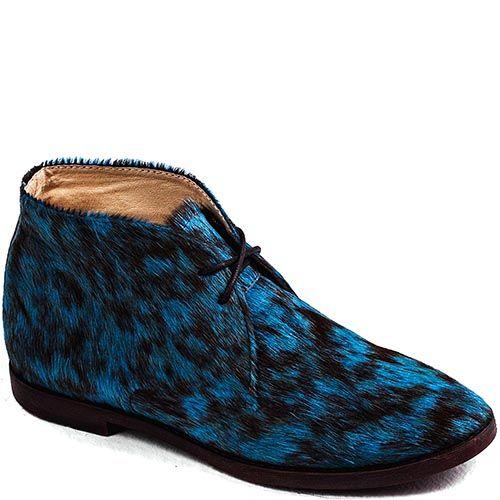 Женские ботинки Modus Vivendi из меха пони ярко-голубого и черного цветов, фото