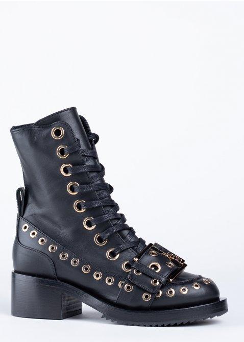 Ботинки N21 из черной кожи на шнуровке, фото