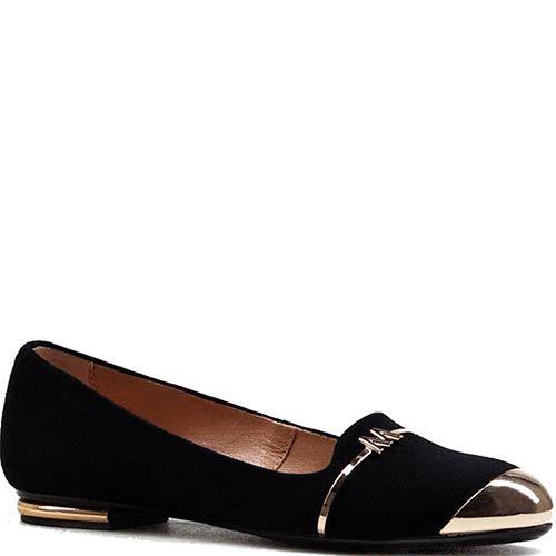Женские туфли Modus Vivendi из замши черного цвета с металлическим носком, фото