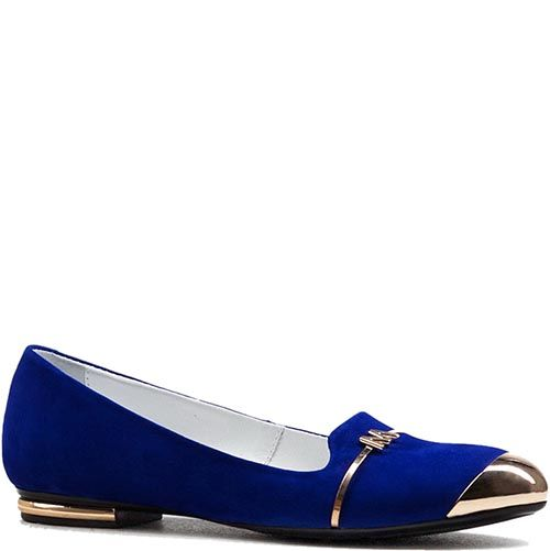 Балетки из синей замши Modus Vivendi с металлическим носком, фото