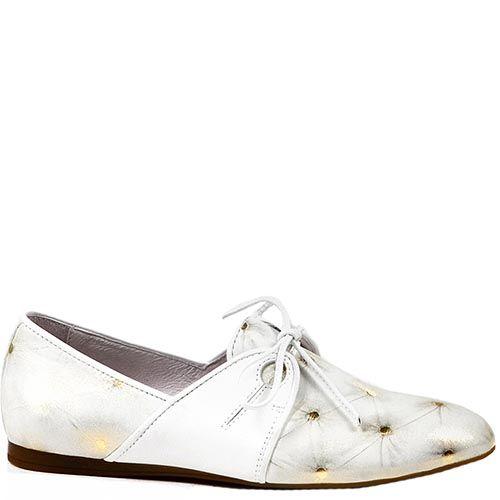 Женские туфли Modus Vivendi на низком ходу белого цвета с золотистым рисунком, фото