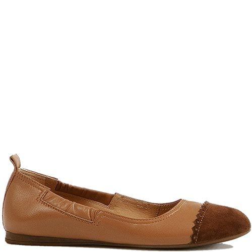 Женские туфли Modus Vivendi из кожи и замши светло-коричневого цвета с резинкой с двух сторон, фото