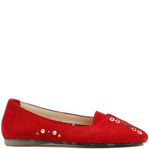 Женские туфли Modus Vivendi из замши красного цвета с разноцветным декором, фото