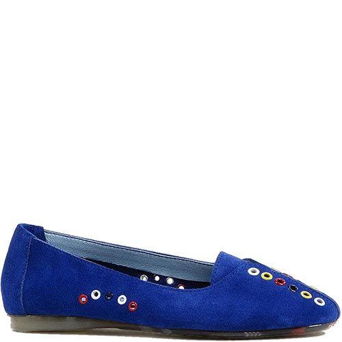 Туфли Modus Vivendi с закругленным носком из замши синего цвета с разноцветным декором, фото
