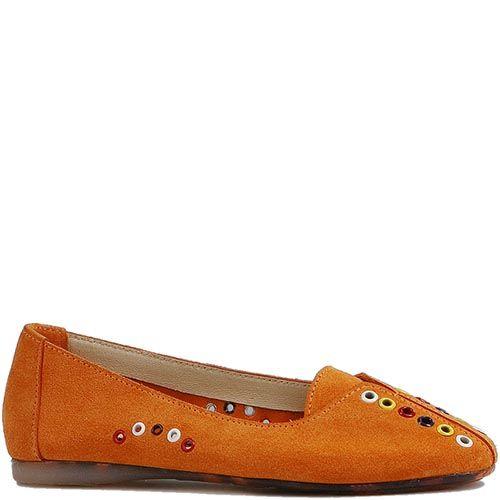Оранжевые туфли Modus Vivendi с закругленным носком с разноцветным декором, фото