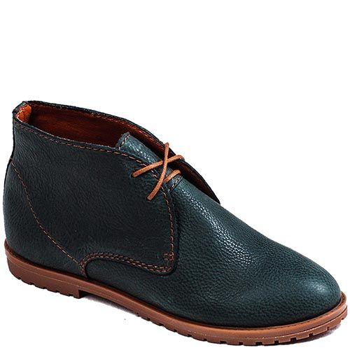 Женские ботинки Modus Vivendi на низком ходу зеленого цвета на контрастной шнуровке, фото