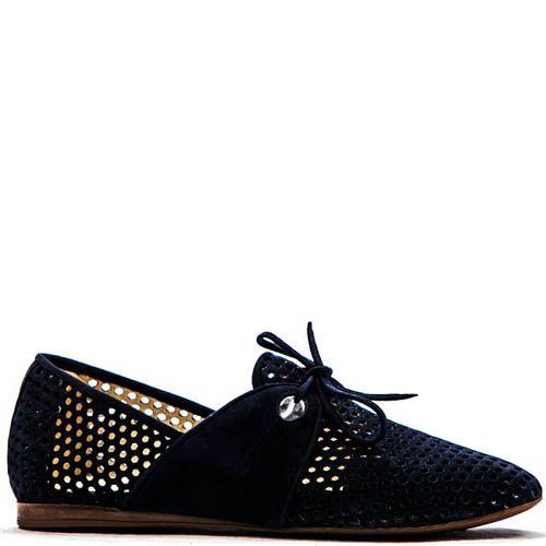 Летние туфли Modus Vivendi синего цвета с круглой перфорацией, фото