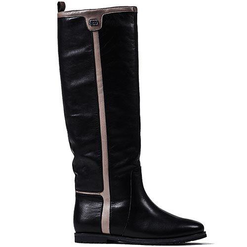 Зимние сапоги Modus Vivendi на низком ходу из кожи черного цвета с серыми лампасами, фото