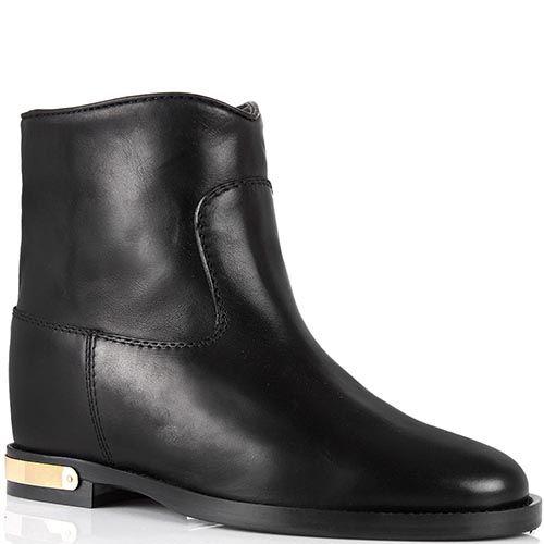 Ботинки Via Roma 15 черного цвета с широким голенищем и металлической вставкой на каблуке, фото