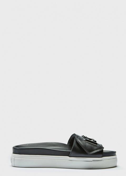 Черные шлепанцы N21 на толстой подошве, фото