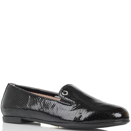Туфли из лаковой кожи Pakerson черного цвета с перфорацией, фото