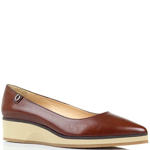 Кожаные туфли коричневого цвета Pakerson на танкетке, фото