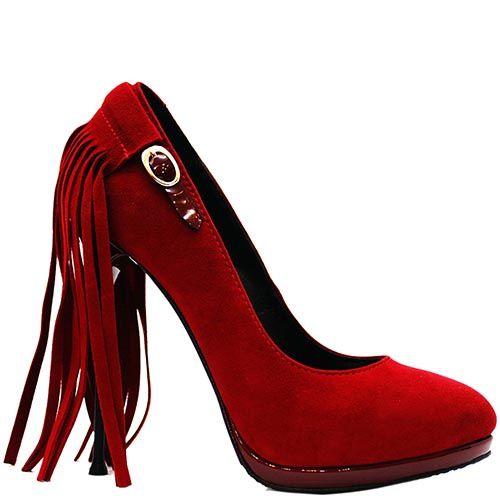 Красные замшевые туфли Modus Vivendi с бахромой на каблуке, фото
