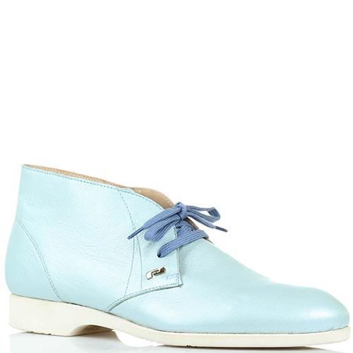 Кожаные туфли-дезерты голубого цвета Pakerson на шнуровке, фото