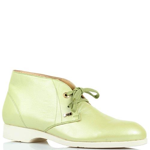 Кожаные туфли-дезерты Pakerson зеленого цвета с перламутровым блеском, фото