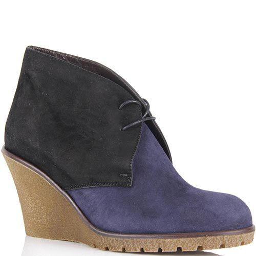 Замшевые ботинки Pakerson сине-черные на танкетке, фото