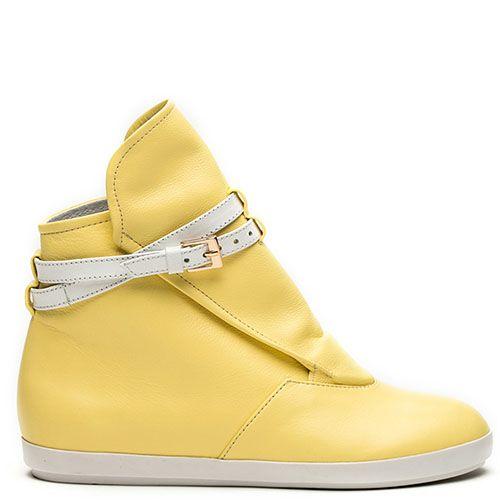 Кожаные ботинки Modus Vivendi светло-желтого цвета на скрытой танкетке, фото